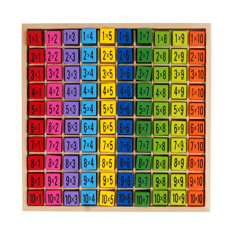 Kids Educational Toys 99 Multiplication Table Math Toy 10*10 Figure Matematicas Wooden Toys for Children Montessori Teaching