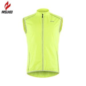 Image 5 - ARSUXEO светоотражающий мужской жилет для велоспорта ветронепроницаемый велосипедный жилет для бега с карманом на молнии сзади Светоотражающая одежда