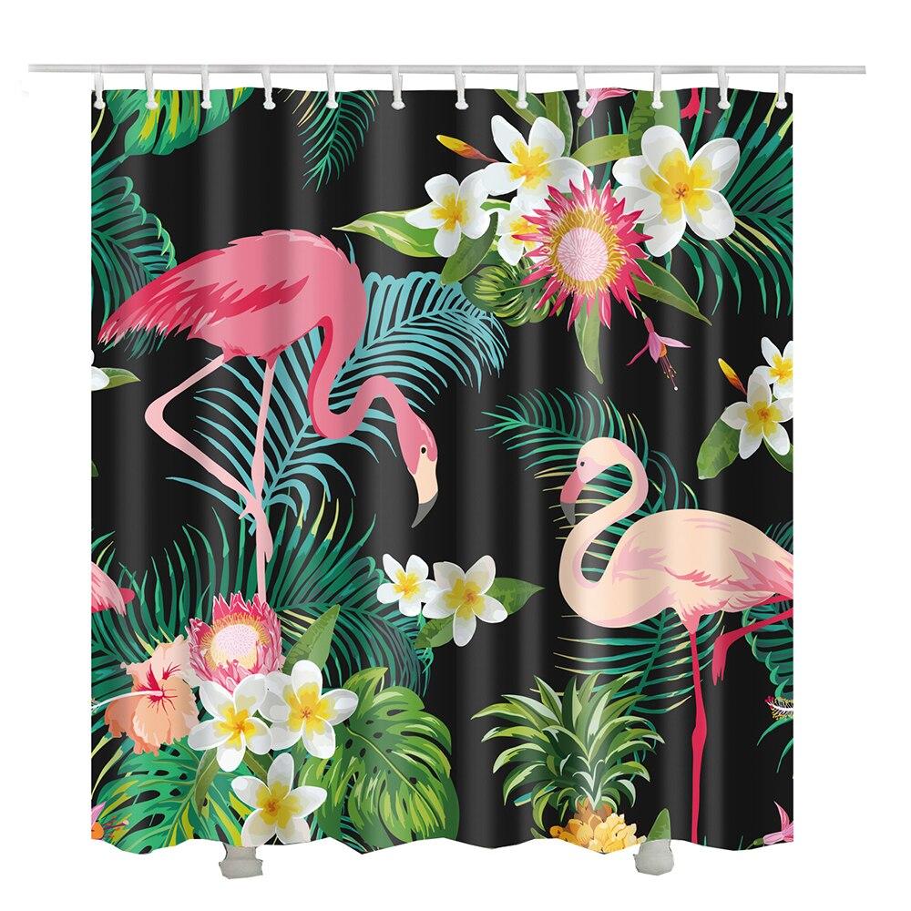 Flamingo bath curtains waterproof fabric cortina para ducha polyester green plants flower bathroom shower curtain
