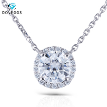 DovEggs Genuine 18K 750 White Gold 1ct Diameter 6.5mm Lab Grown Moissanit Diamond Halo Pendant Necklace with Accents for Women