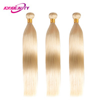 613 Color Blonde Bundles Straight Human Brazilian Platinum 10A Remy Hair Weave Extensions Inch 3 pcs/lot Addbeauty Free Shipping