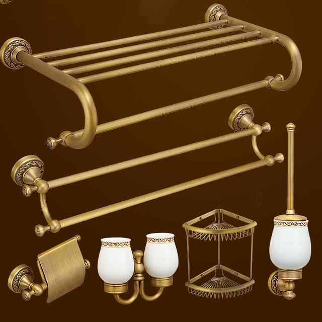 European Antique Brass Bathroom Hardware Set Carved Solid Brass ...