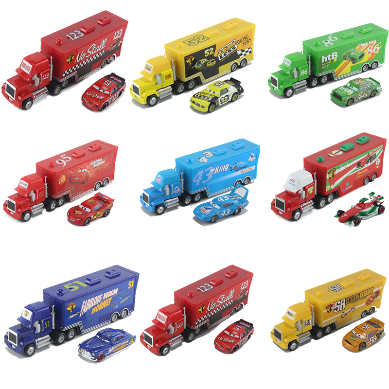 26 Stye Toys Disney Pixar Cars Alloy Car Model Container Truck Number Car Lightning McQueen Mack Model Toy for Kids Gifts