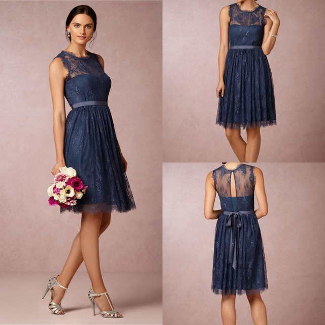 Princess Maid Of Honor Lace Dark Navy Royal Blue Bridesmaids Dress 2017 Formal Y Short