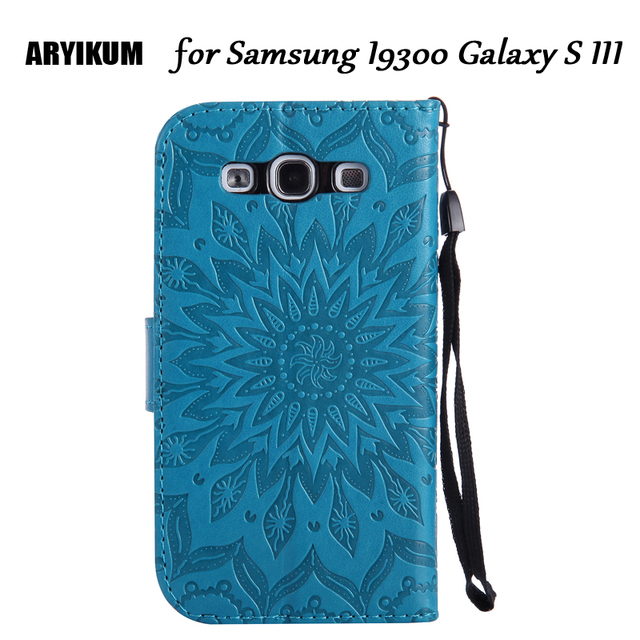For Samsung I9300 Galaxy S 3 III Embossed Sunflower PU Leather Smart Phone Cases Flip Wallet Cover Capinha For Samsung GT-I9300