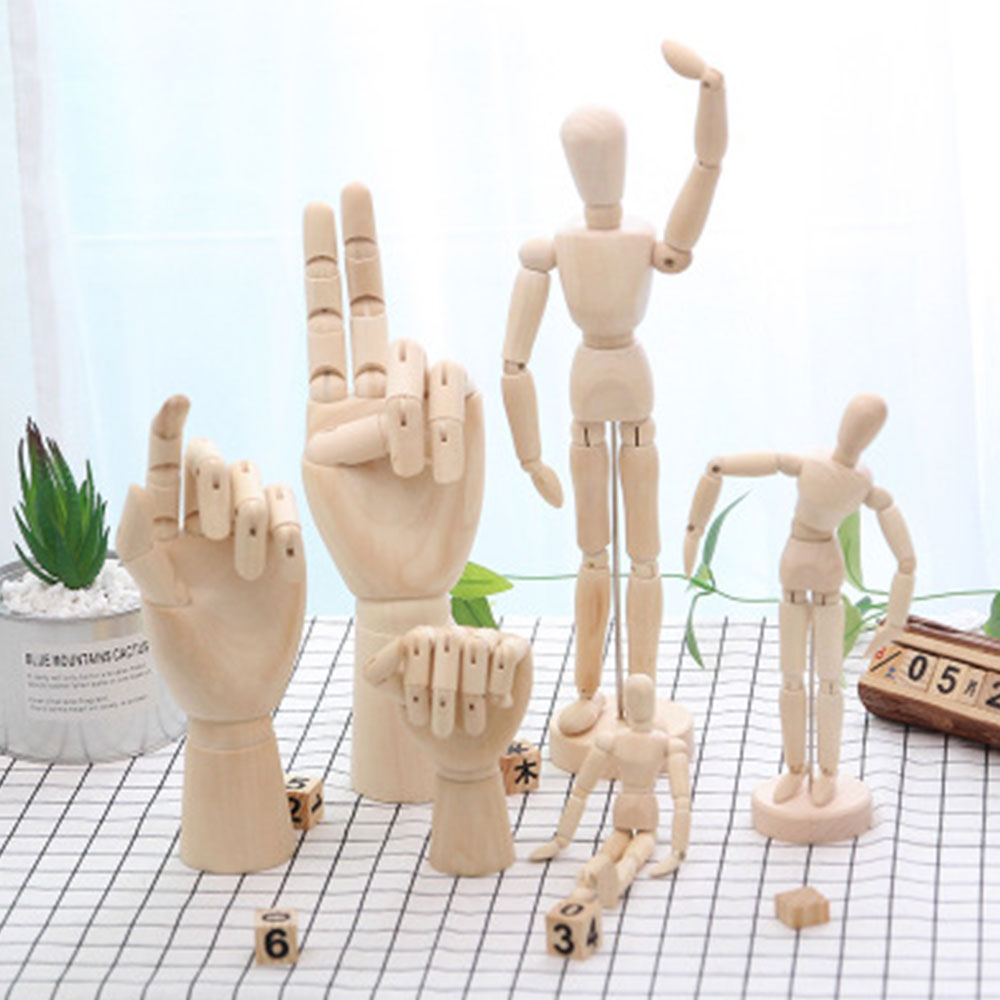 1 Piece  Moveable  Wooden Hand And Standing Flexible Wood Man Art Draw Naked Dolls Model Toy For Kid