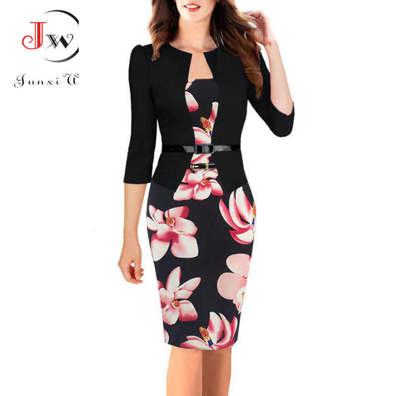 8095d205552 Summer Dress Women 2017 Bodycon Fashion Elegant Sexy Office Floral Print  Patchwork Tunic Patchwork One Piece