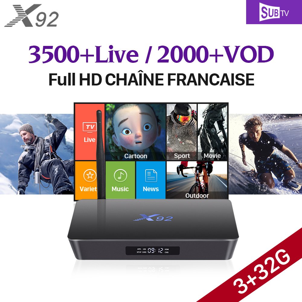 X92 Full HD French IPTV Box Amlogic S912 Octa-Core Android 7.1 IPTV Box French Arabic Iptv Subscription SUBTV VOD French Movies