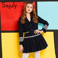 Sisjuly 60s Vintage Dresses Autumn Winter Knee Length A Line Long Sleeve Draped Notched Casual Female