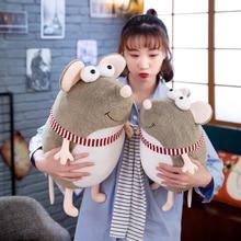 Candice guo милые плюшевые игрушки большие глаза улыбающаяся мышь полосатый шарф Толстая крыса мягкая кукла креативный подарок на день рождения Рождество