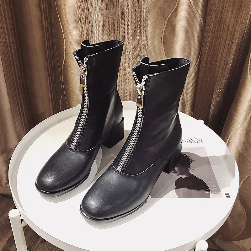 Casidueho Women Short Boots Real Leather Winter Booties Front Zipper High Heels Dress Shoes Woman 2018 New England Motor Bots england new style genuine leather women short boots metal buckles flats dress shoes woman gladiator brand warm fur rain booties