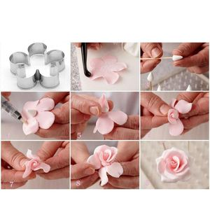 Image 2 - 3Pcs/Set Stainless Steel Rose Petal DIY Cookie Biscuit Mould Mold Cutter Decor DIY Mold Cutter Baking Mould Tools
