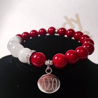 e00f2d99430c Cheap Más nuevo Delta Sigma Theta Sorority granos grandes rojo y blanco  perla personalizada DST pulsera