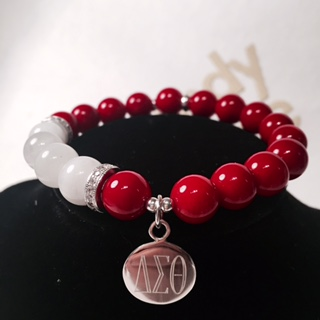 Newest Delta Sigma Theta Sorority big beads red and white custom bead dst Bracelet