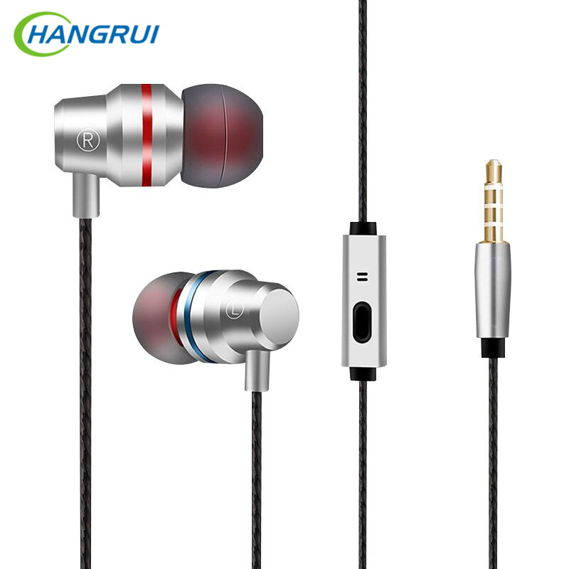 HANGRUI Metal In ear Earphones Heavy Bass Sound Music Headsets Anti-Sweat with Microphone For iphone for xiaomi fone de ouvido