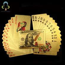 One Deck Gold Foil Poker US Dollar Style Plastic Poker Playing Cards Waterproof Cards Good Price Gambling Board game GYH(China)