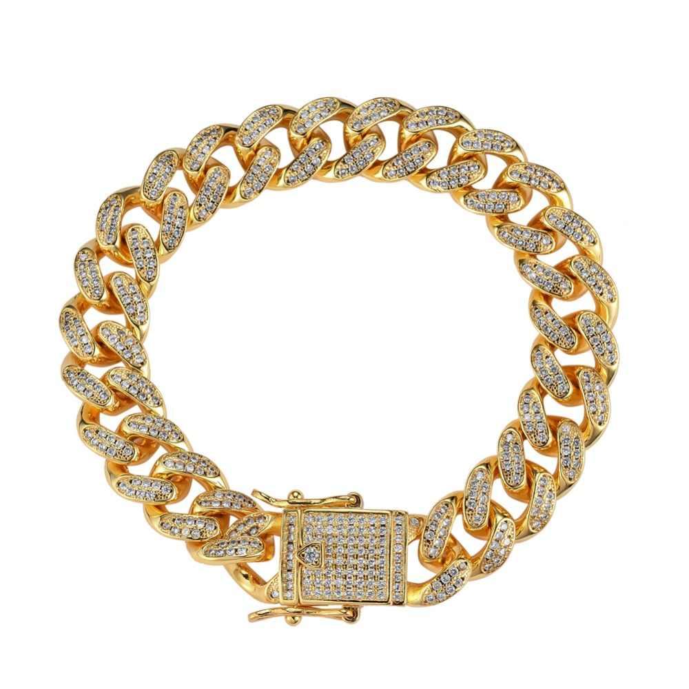 12 มม.7 นิ้ว 8 นิ้วทองเหลือง Iced OUT Bling สร้อยข้อมือผู้ชายเครื่องประดับทองแดง CZ สร้อยข้อมือ Cuban hip hop B011