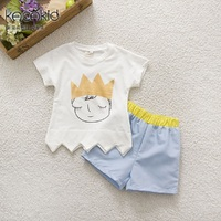 Kacakid Mùa Hè trẻ em mới quần áo bộ trẻ em dễ thương trai gái ngắn tay T-áo + shorts sets bé Hoàng Tử hai mảnh phù hợp với