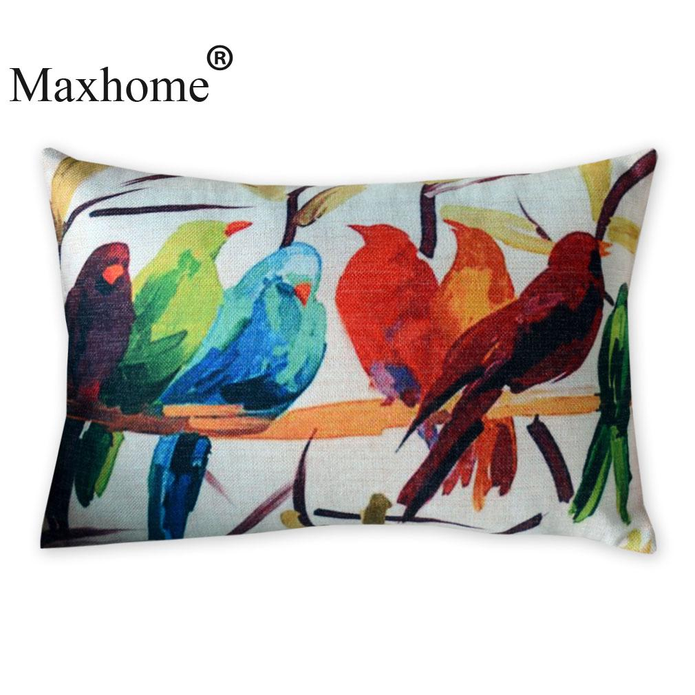 Decorative Pillows With Bird Design : American Art Cotton Linen Pillowcase Watercolor Bird Cushions Decorative Pillow Home Decor Sofa ...