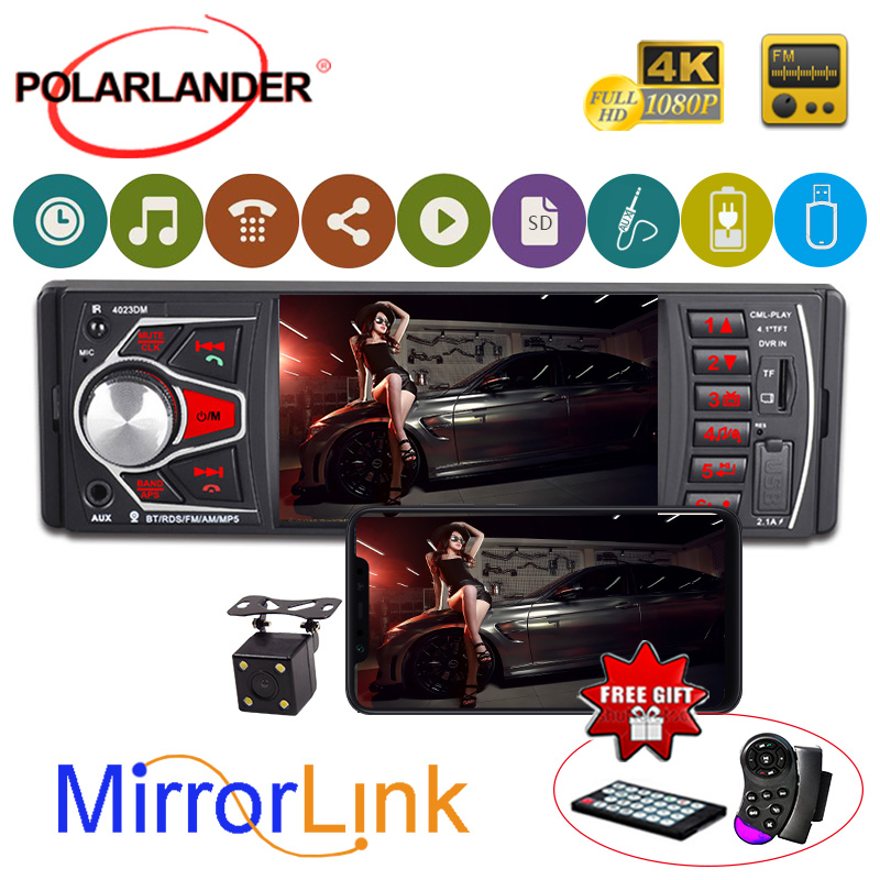 4.1 Inch HD Screen FM TF USB SD RDS Mirror Link Autoradio 1 DIN Car Radio Stereo Bluetooth auto tapes MP5 radio cassette player image