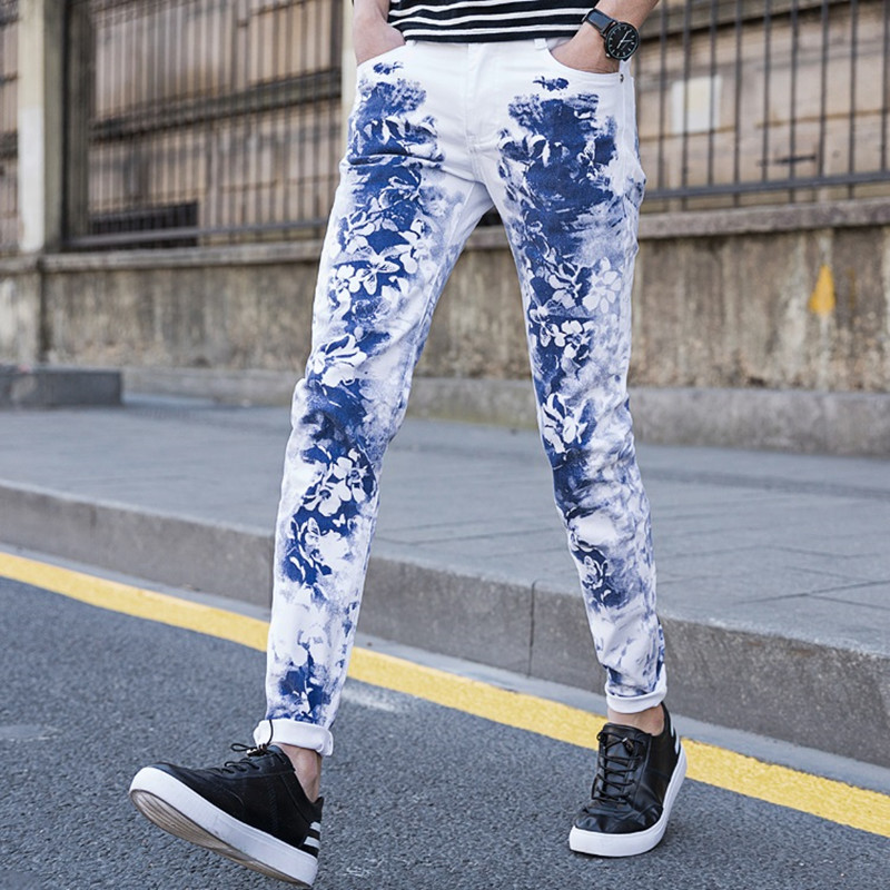 Blue and White Porcelain 2018 Mens Print Skinny Jeans Slim Fit Straight Distressed Denim Pants Chinese Style Trouser for Men K32
