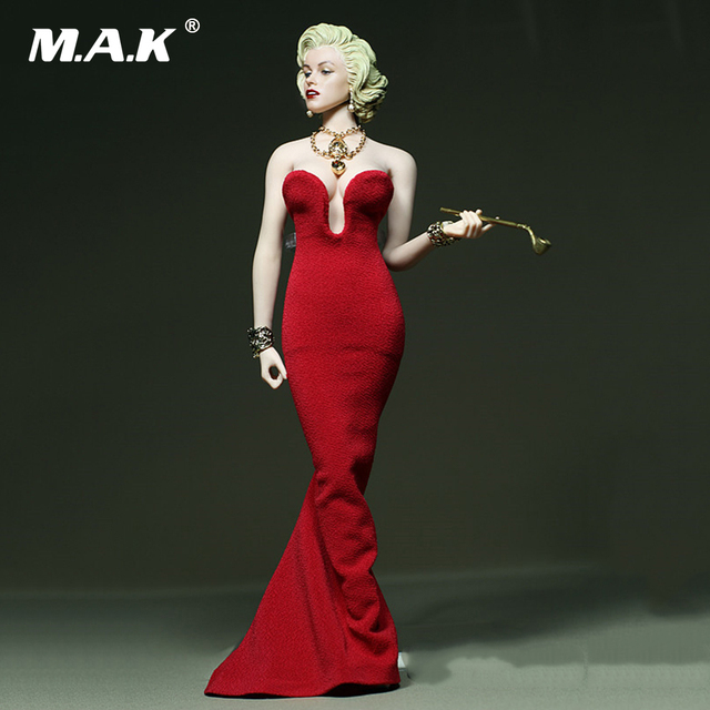 DIY 1:6 Scale Female Clothes Marilyn Monroe Red Dress for 12