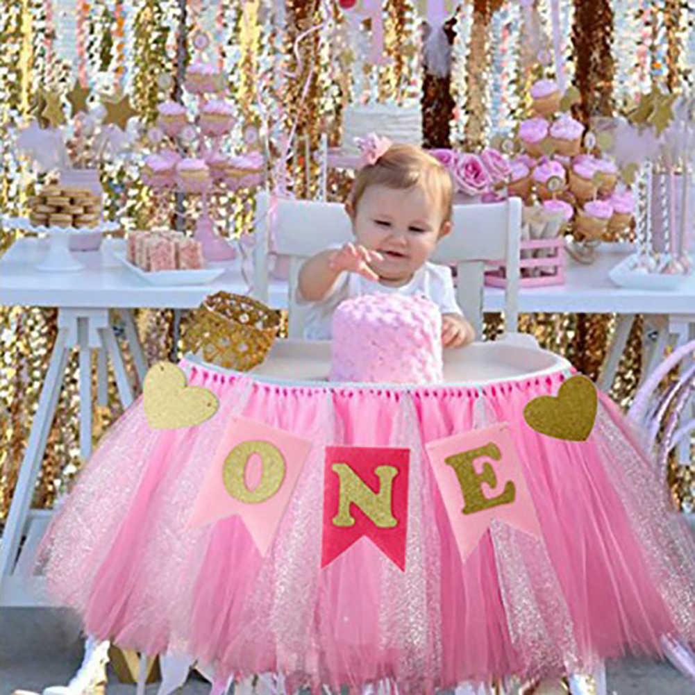 Babyshower แบนเนอร์ Glitter ONE Heart-shaped Boy Birthday Party Banner แบนเนอร์ Highchair Bunting Party Decor