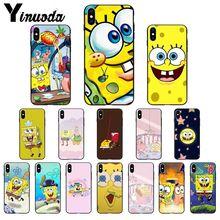11pro MAX SpongeBob SquarePants Sponge Bob Black TPU Soft Silicone Phone Cover for iPhone 5 5Sx 6 7 7plus 8 8Plus X XS XR