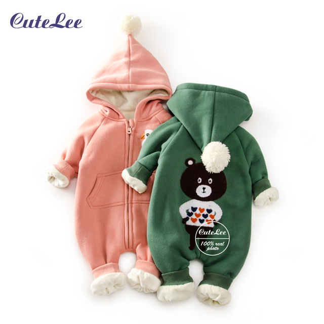 2016 Top Bebé fleece navidad traje para la nieve con sombrero del bebé recién nacido muchacha del muchacho ropa de algodón traje para la nieve para niños abrigos de invierno y chaquetas