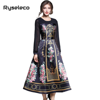 Ryseleco Women Autumn Vintage Royal Floral Prints Long Sleeve Patchwork Party Swing Dresses Female Twill Midi