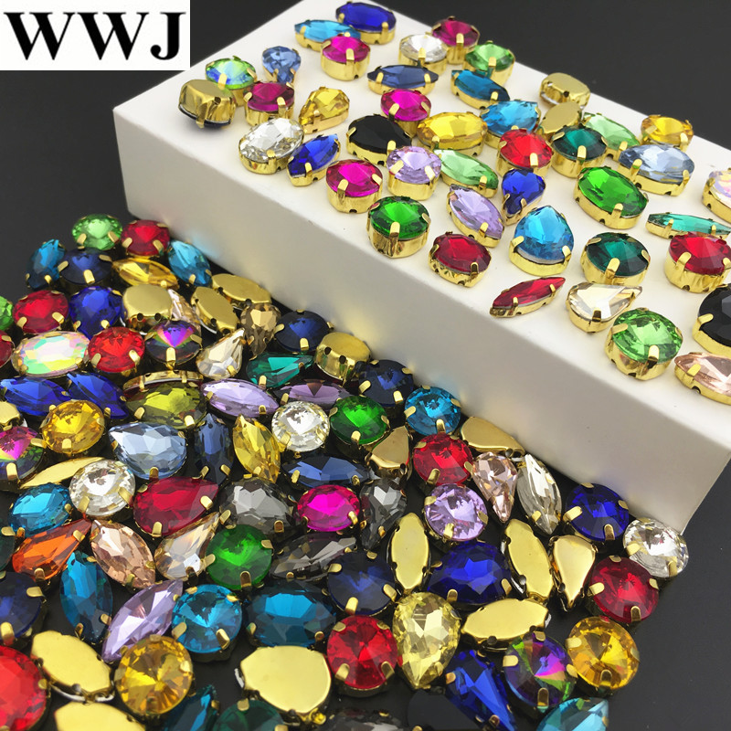 Detail Feedback Questions about Randomly Mix colors sizes shapes Sew On Stones  Sewing Glass Crystal Beads with gold claw setting For jewelry a7d4a684f3f7