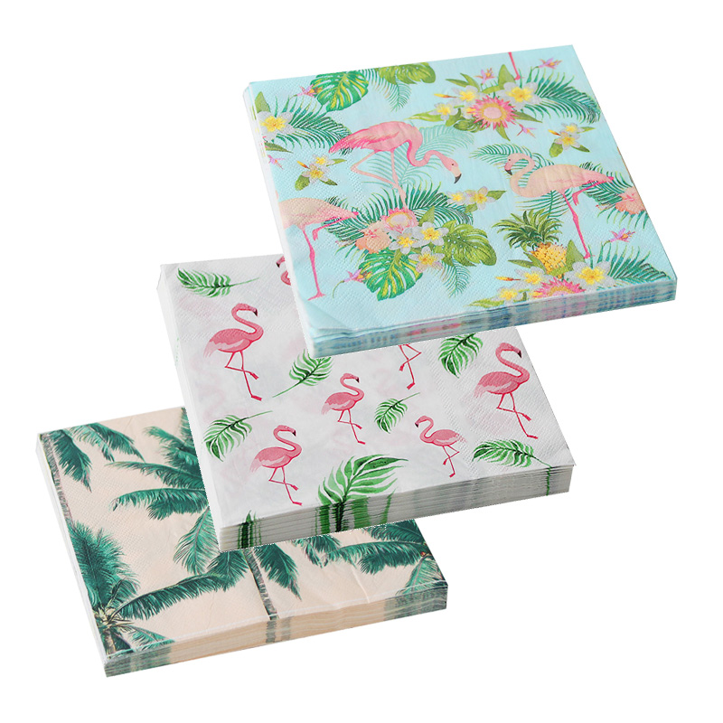 Flamingo Party Decoration Paper Napkins Palm Leaves Tableware Paper Napkin Hawaii Tropical Party Birthday Wedding Decoration