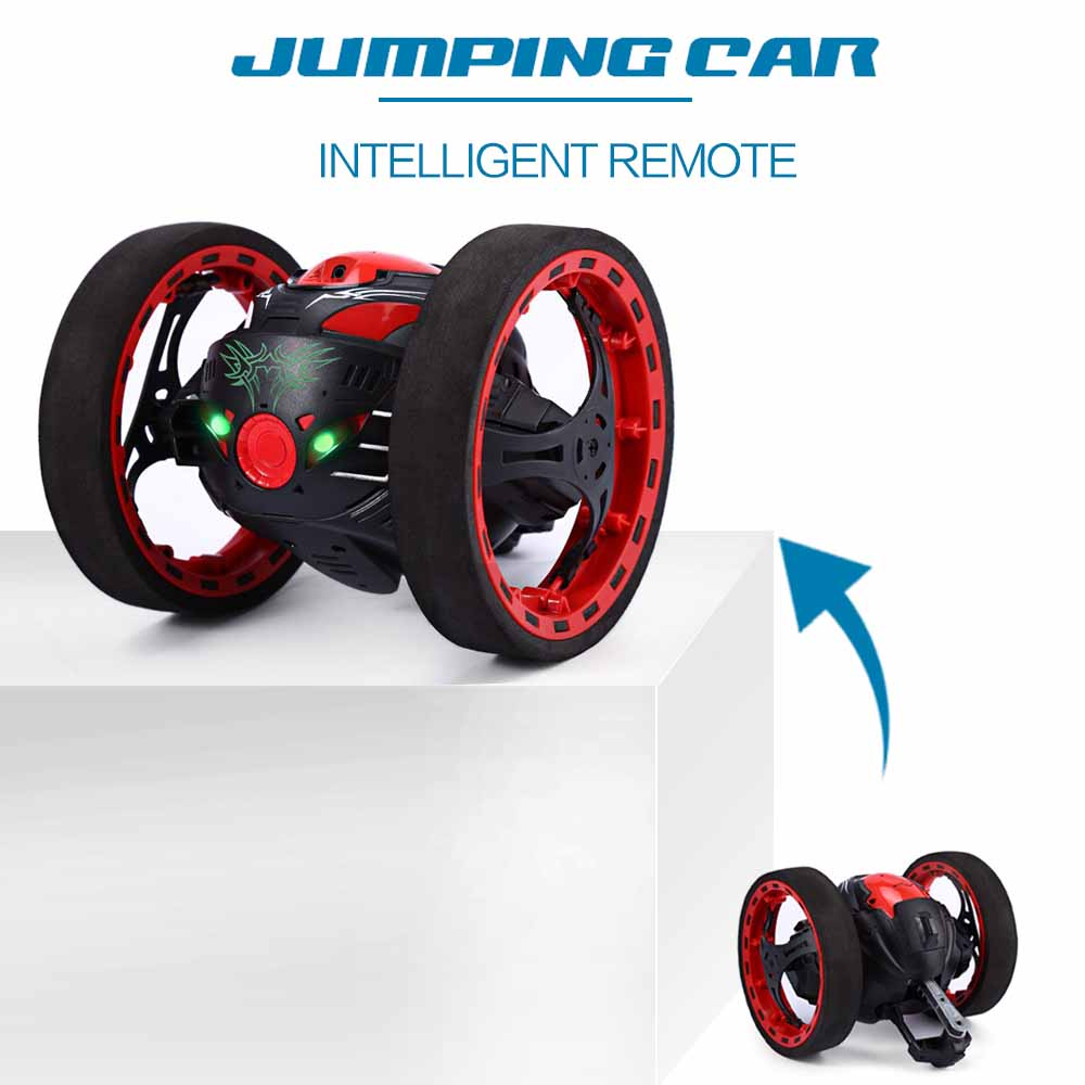 Mini cars bounce car peg sj88 2 4ghz rc car with flexible wheels rotation led light remote control robot car toys for gifts