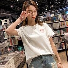 Summer T shirt Women Pig Embroidery Loose Casual Harajuku T-shirt Female Big Size Black White Tshirt Plus Tops Tee 2019 New