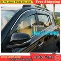 D_YL Janelas viseira car styling Chrome Vento Deflector Viso Chuva/Sun Guard Ventilação SE ENCAIXA Para 2013 2014 Toyota RAV 4 Chuva escudo