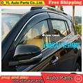 D_YL Windows visor car styling Chrome Wind Deflector Viso Rain / Sun Guard Vent FITS For 2013 2014 Toyota RAV 4 Rain shield