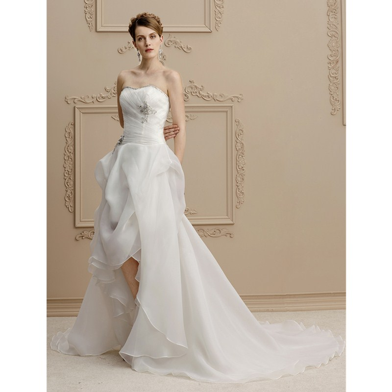 LAN TING BRIDE A-Line Strapless Asymmetrical Organza Wedding Dress with Beading Appliques Pick-Up Side Draping