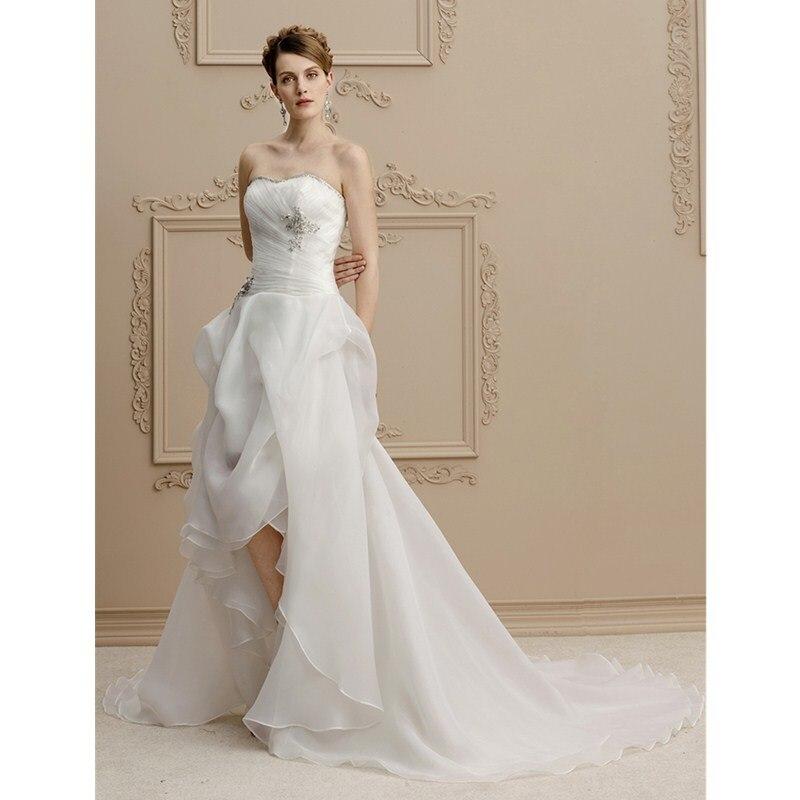 LAN Ting невесты линии без бретелек Асимметричный органза свадебное платье с Бисер аппли ...