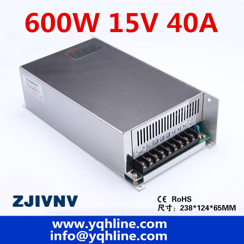 S-600-15 CE approved high quality ac to dc SMPS single output switching power supply 15V 40A 600W made in China S-600-15 CE approved high quality ac to dc SMPS single output switching power supply 15V 40A 600W made in China