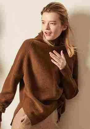 2019 가을과 겨울 새로운 캐시미어 스웨터 여성의 높은 목 풀오버 느슨한 두꺼운 스웨터 짧은 단락 니트 셔츠
