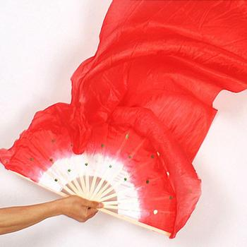 1.8m Hand Made Colorful Belly Dancing Bamboo Long Silk Fans Veils Dance Fan 7 Colors