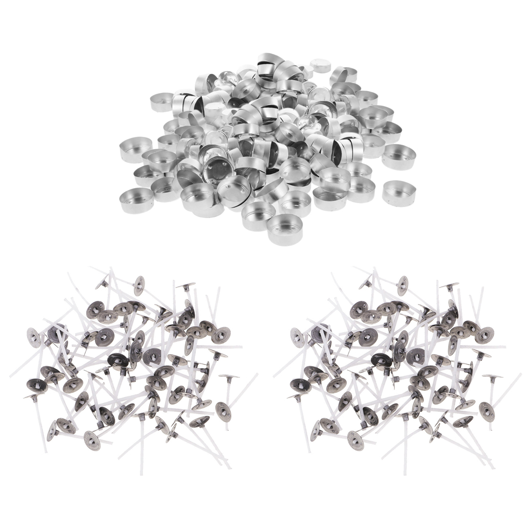 400pcs Tea Light Aluminum Empty Candle Cup Containers & Natural Candle Wicks