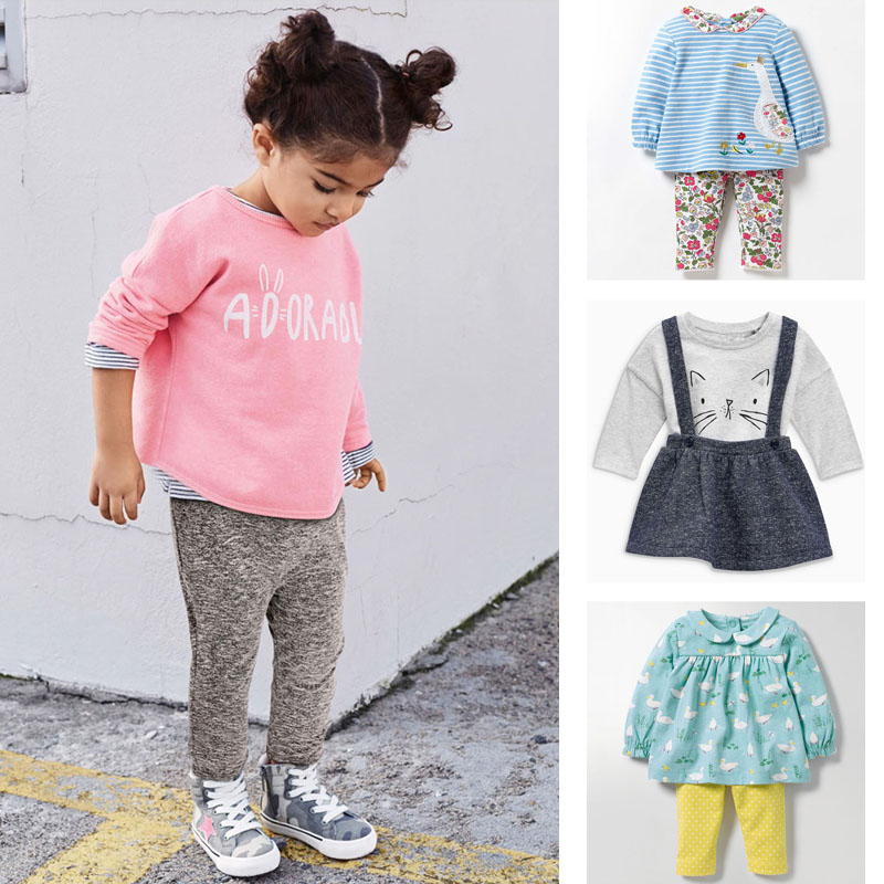 New 2018 Autumn Baby Girl Clothes Sets Brand Quality 100% Cotton Bebe Girls Long Sleeve T-shirt Pants 2pc Children Clothing Sets цена