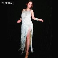 Модное сексуальное Белое платье с кисточками без рукавов вечернее платье со стразами с бахромой длинное платье День рождения, празднование
