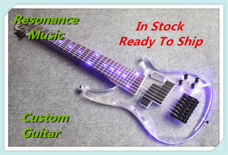 Limited Edition Clear Acrylic Glass Electric Guitar 7 Strings Bass Guitarra Rosewood Fretboard Black Hardware human new arrival 7 strings electric guitar matte black clouds striped body and head black hardware free shipping