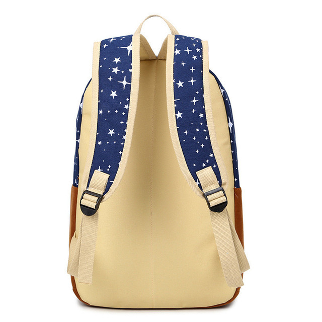 Fashion Star Women Canvas Backpack Schoolbags School For Girl Teenagers Casual Travel Bags Rucksack Cute Printing 2