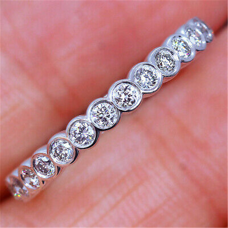 Eternity Promise Ring 925 Sterling Silver Pave AAAAA Cz Engagement Wedding Band Rings For Women Bridal Party Fashion Jewelry