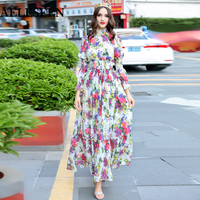 AELESEEN Autumn 2018 New Fashion Women's Long Sleeve Elegant Vacation Maxi Dresses Floral Print Boho Holiday Pleated Long Dress