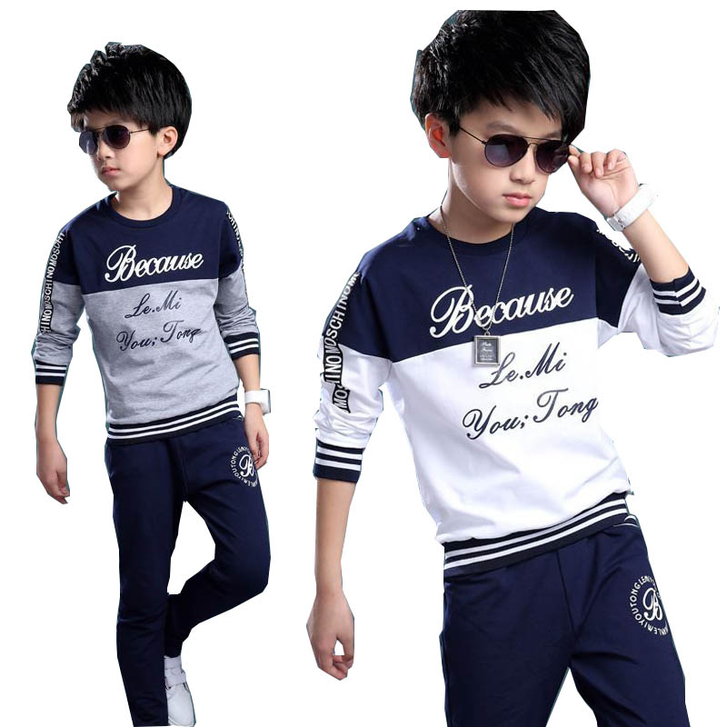 2018 spring autumn teenage boys clothing sets sport casual suit kids clothing fashion Tops + Pants 2pcs children tracksuit 4-14Y 2017 new children outfits tracksuit batman clothing children hoodies tops kids pants 2pcs boys sport suit baby boys clothing set