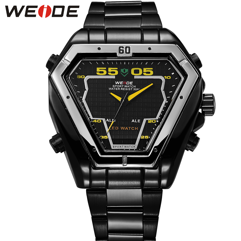 WEIDE Mens Digital Sports Watches Irregular Shape Big Dial Analog LED Quartz Dual Movement Stainless Steel Band Waterproof Watch weide irregular men military analog digital led watch 3atm water resistant stainless steel bracelet multifunction sports watches